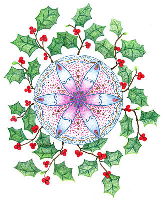 Art Print featuring the drawing X'mas Wreath by Keiko Katsuta