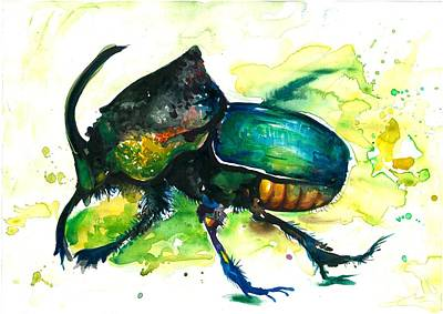 Rhinoceros Painting - Xxl Format Scarab Rainbow Rhinoceros Beetle - Insect Art by Tiberiu Soos