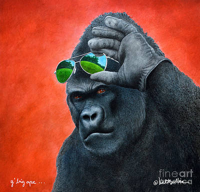 Gorilla Painting - Y' Big Ape... by Will Bullas