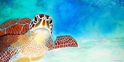 Hawaii Sea Turtle Painting - Sea Turtle - Ya Talkin' To Me? by SaxonLynn Arts