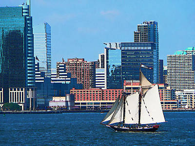 Dock Photograph - Manhattan - Yacht Against Manhattan Skyline by Susan Savad