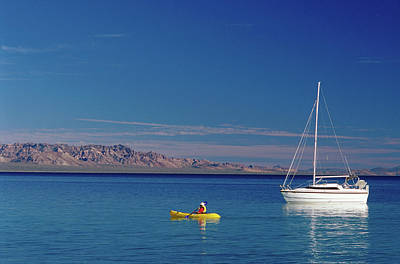 Oar Photograph - Yacht And Kayak On Sea Of Cortez At by Brent Winebrenner