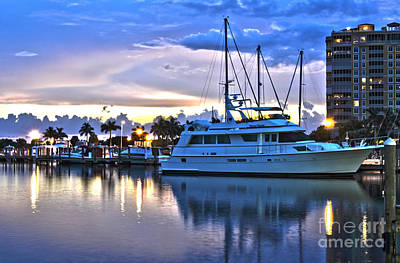 Art Print featuring the photograph Yacht At Marina In Cape Coral by Timothy Lowry