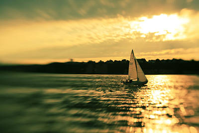 Photograph - Yacht At The Sunset On The Hudson River by Alex Potemkin