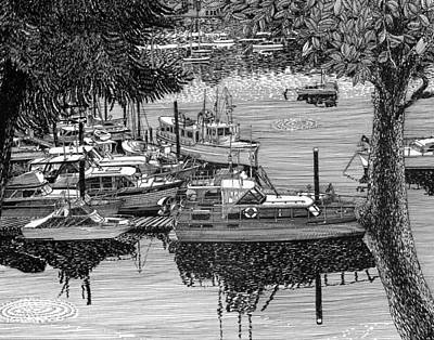 The Trees Drawing -  Cruise To Vashon Island Port Orchard Yacht Club by Jack Pumphrey