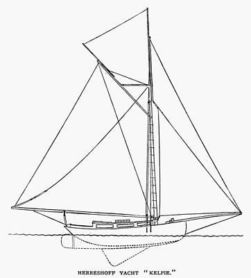 Kelpie Photograph - Yacht: Kelpie, 1882 by Granger
