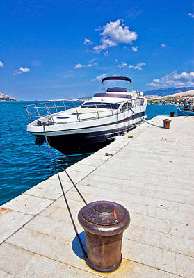 Photograph - Yacht On Mooring Bollard Dock by Brch Photography