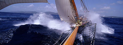 Waves Crashing Photograph - Yacht Race, Caribbean by Panoramic Images