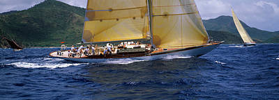Yacht Racing In The Sea, Antigua Art Print by Panoramic Images