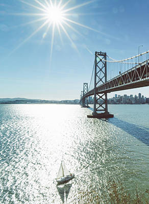 Photograph - Yacht Through Bay Bridge by Chinaface
