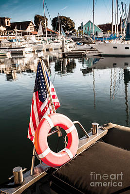 Photograph - Yacht With American Flag At The Pier  by Sviatlana Kandybovich