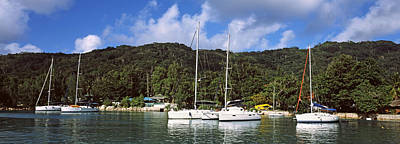 Yachts Anchored At The Harbor On La Art Print by Panoramic Images