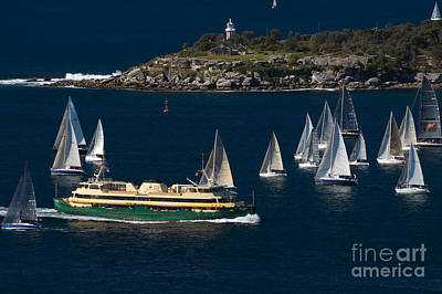 Photograph - Yachts And The Famous Manly Ferry On Sydney Harbour With South Head Behind by David Hill