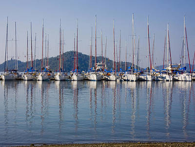 Yachts Docked In The Harbor Gocek Print by Christine Giles