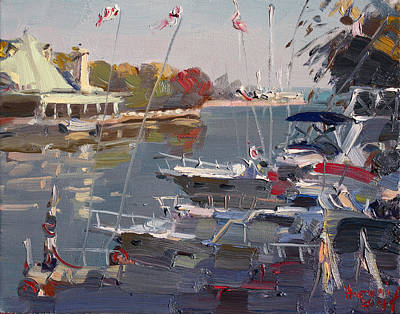 Boat Harbour Wall Art - Painting - Yachts In Port Credit  by Ylli Haruni