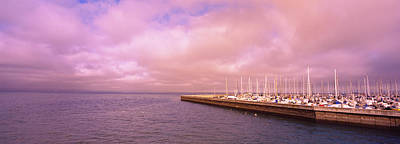 Before Dusk Photograph - Yachts Moored At A Harbor, San by Panoramic Images