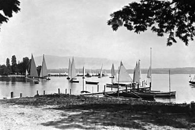 Yachts On Lake Geneva Art Print by Underwood Archives