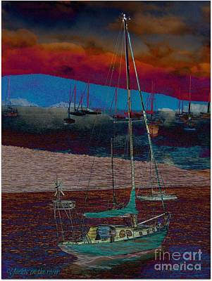 Mixed Media - Yachts On The River by Leanne Seymour