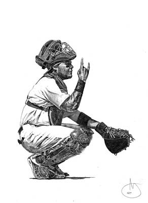 St. Louis Cardinals Drawing - Yadier Molina by Joshua Sooter
