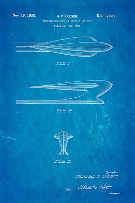 Yaeger Hood Ornament Patent Art 1935 Blueprint Art Print by Ian Monk