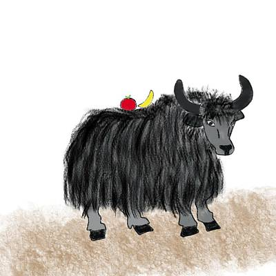 Yak Digital Art - Yak Has A Snack by Gabrielle Kristine
