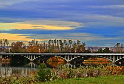 Yakima River Bridge Art Print by Lynn Hopwood