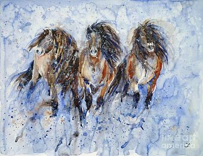 Painting - Yakutian Horses In The Snow Storm by Zaira Dzhaubaeva