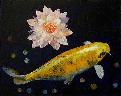 Yamabuki Ogon Koi Art Print by Michael Creese