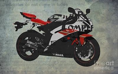Garage Mixed Media - Yamaha And The Newspaper Cuts by Pablo Franchi