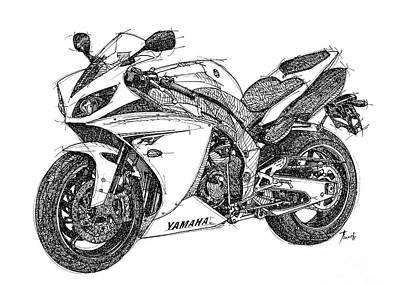 Harley Davidson Motorcycle Drawing - Yamaha R1 by Pablo Franchi