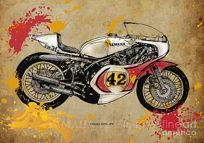 Ink On Paper Drawing - Yamaha Tz750 1979 by Pablo Franchi