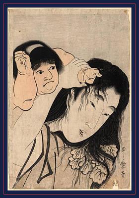 1753 Drawing - Yamauba No Kami O Tsukamu Kintaro by Kitagawa, Utamaro (1753-1806), Japanese