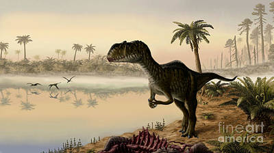 Carcass Digital Art - Yangchuanosaurus Eats The Carrion by Yuriy Priymak