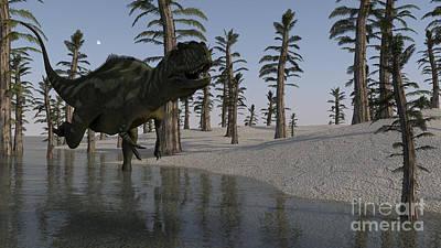 Running Digital Art - Yangchuanosaurus Running Through Water by Kostyantyn Ivanyshen