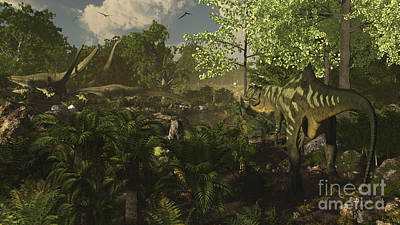 Searching Digital Art - Yangchuanosaurus Spies On A Group by Arthur Dorety