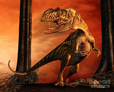 Anger Digital Art - Yangchuanosaurus Standing Over His Prey by Philip Brownlow