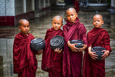 Front View Photograph - Yangon Young Monks by David Longstreath