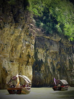 Photograph - Yangtze River And Sampans - Wu Gorge by Jacqueline M Lewis