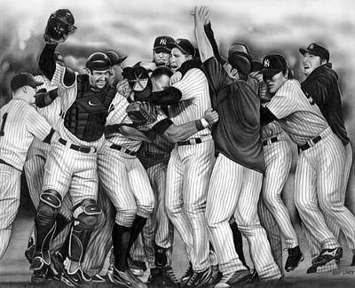 Baseball Drawing - Yankee Celebration by Jerry Winick