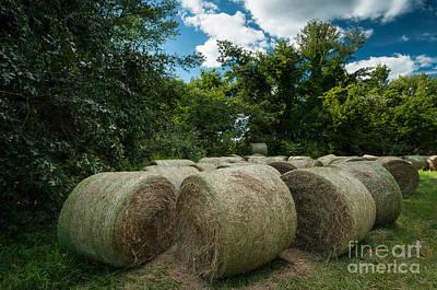 Connecticut Photograph - Yankee Farmlands No 5 - Round Hay Bales by JG Coleman