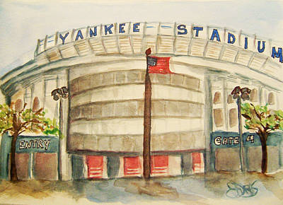 Yankee Stadium  Art Print by Elaine Duras