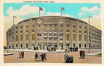 Stadium Digital Art - Yankee Stadium Postcard by Bill Cannon