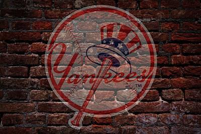 Yankees Baseball Graffiti On Brick  Art Print by Movie Poster Prints