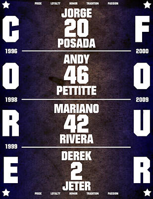 Derek Jeter Digital Art - Yankees Core Four Chart by Anibal Diaz