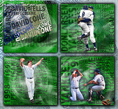 Yankees Perfect Game Combo Larsen Wells Cone Art Print