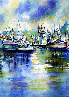 Yaquina Bay Boats Art Print