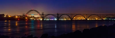 Photograph - Yaquina Bay Bridge At Night by James Eddy