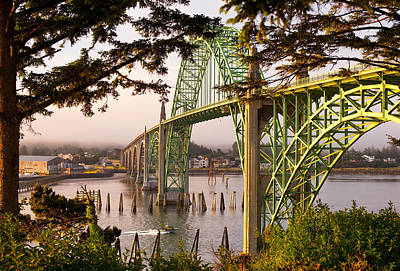 Yaquina Bay Bridge Photograph - Yaquina Bay Bridge Morning Light by Darren  White