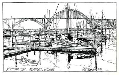 Drawing - Yaquina Bay Newport Oregon by Ira Shander