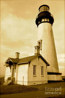 Photograph - Yaquina Head Gone Sepia by Sheldon Blackwell
